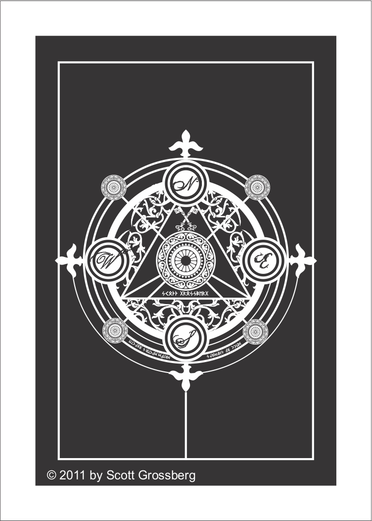 Tarot Card Deck Backs Design Black White