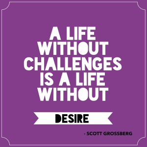 A life without challenges is a life without desire. © Scott Grossberg.